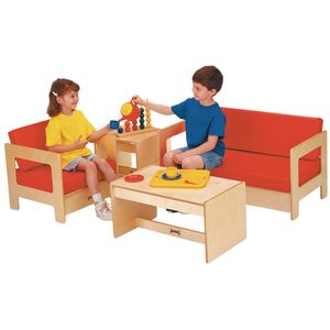 Red Vinyl Baltic Birch Living Room Set - 4 Pieces
