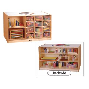 Double-Sided Mobile Cubbie Island Storage - With Clear Trays