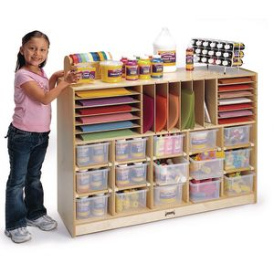 15-Cubbie Sectional Mobile Storage - with Clear Trays