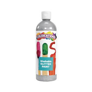 Colorations® Washable Glitter Paint, Silver - 16 oz.