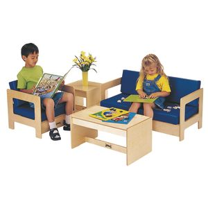 Blue Vinyl Baltic Birch Living Room Set - 4 Pieces