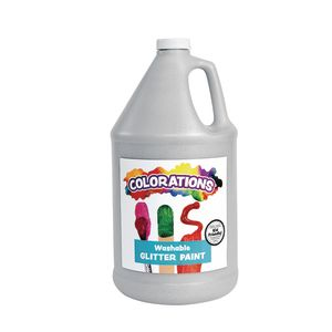 Colorations® Washable Glitter Paint, Silver - 1 Gallon