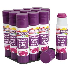 Colorations® Best-Value Washable Glue Sticks, Small (.32 oz.) - Set of 12 in Tray
