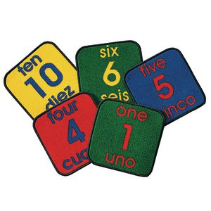 "Bilingual Numbers 12"" Squares - Set of 10 Kids Value PLUS Carpets"
