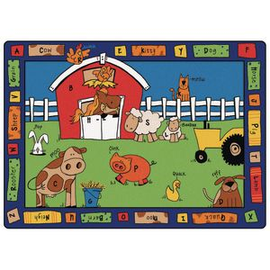 "Alphabet Farm 4'5"" x 5'10"" Rectangle Premium Carpet"