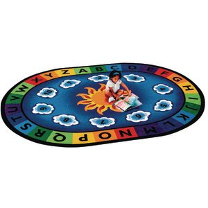 "Sunny Day Learn and Play 4'5"" x 5'10"" Oval Premium Carpet"