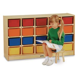 Preschool 20 Tray Mobile Storage - With Clear Trays