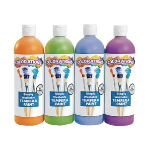 Colorations® Simply Washable Tempera Paints, Cool Colors, 16 oz. - Set of 4