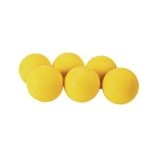 "7"" Yellow Best Quality Rubber Playground Balls - Set of 6"
