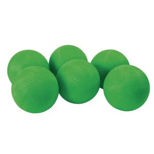 "8 1/2"" Green Best Quality Rubber Playground Balls - Set of 6"