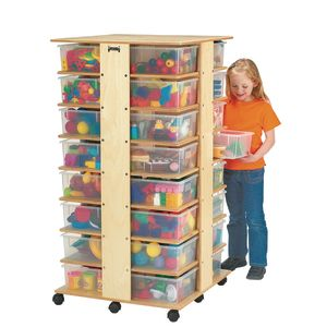 Mobile Tower - 32 Cubbies, With Clear Trays