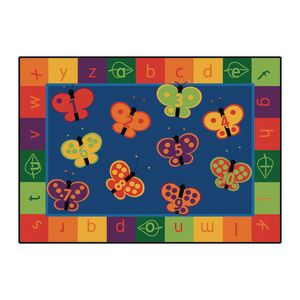 123 ABC Butterflies 8' x 12' Rectangle KIDSoft Premium Carpet