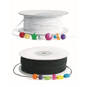 Colorations® Set of Black & White Beading Elastic - 200 yards