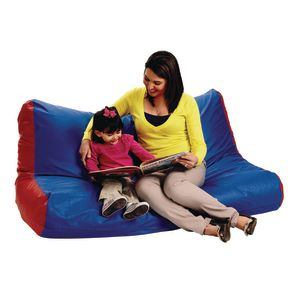 High-Back Beanbag Sofa - Red/Blue