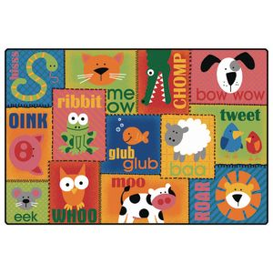 Animal Sounds 4' x 6' Rectangle KIDSoft Premium Carpet