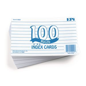 Ruled Index Cards - Pack of 100