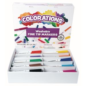 Colorations® Washable Fine Tip Marker Classroom Pack - Set of 200