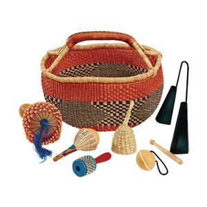 African Bolga Market Basket and Set of 6 African Music Instruments