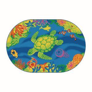 Environments® Medium Coral Reef Carpet - 6' x 9' Oval