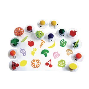 Colorations® Easy-Grip Stampers, Fruit & Vegetable - Set of 14