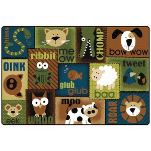 Animal Sounds Nature 4' x 6' Rectangle KIDSoft Premium Carpet