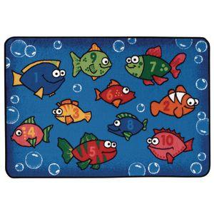 "Something Fishy 3' x 4'6"" Rectangle Kids Value Carpet"