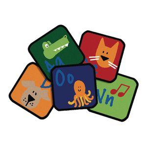 "Learning 12"" Blocks - Set of 26 Kids Value PLUS Carpet Squares"