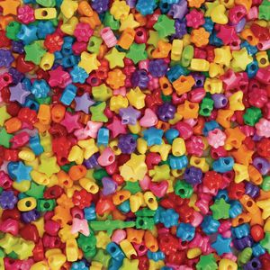 Colorations fun shapes pony beads, 1lb, set of 1800 beads, lacing hole 1/8 inches, craft, hobby, arts & crafts, fun, art supplies, fun shaped ...