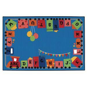 Alpha Fun Train 8' x 12' Rectangle Kids Value PLUS Carpet