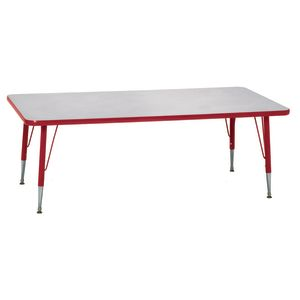 "Red 22-30""H, 24"" x 48"" Rectangle Scholar Craft™ Activity Table"