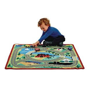 Round the Town Rug with Wooden Cars
