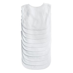 White Terry Cloth Bibs - Set of 10