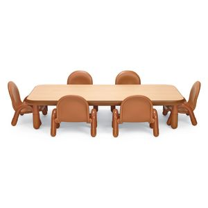 "Angeles® BaseLine® Rectangular Toddler Table & Chair Set - 60""L x 30""Wx 12""H Table w/ 6 Chairs, Natural"