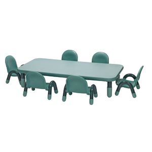 "Angeles® BaseLine® Rectangular Toddler Table & Chair Set - 60""L x 30""Wx 12""H Table w/ 6 Chairs, Teal"