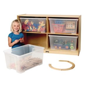 Jumbo Tote Storage with Clear Jumbo Totes and Lids