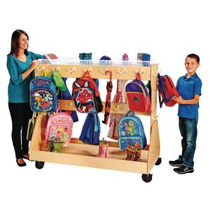 Mobile Backpack Cart - with Clear Cubbie-Trays
