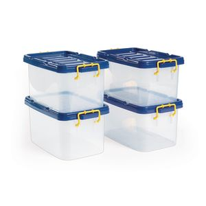 Clear Storage Bins Set of 4 Large