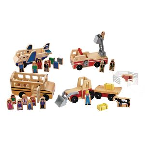 Wooden Transportation Playsets - Set of 4
