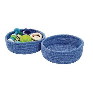 Soft Chenille Storage Baskets - Set of 2 in Blue