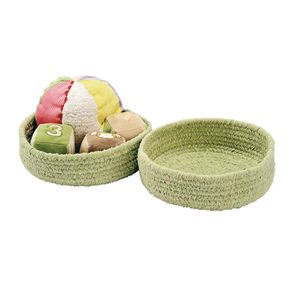 Soft Chenille Storage Baskets - Set of 2 in Celery Green