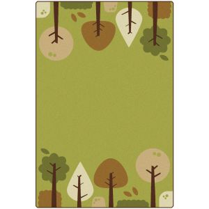 Tranquil Trees Green 4' x 6' Rectangle KIDSoft Premium Carpet