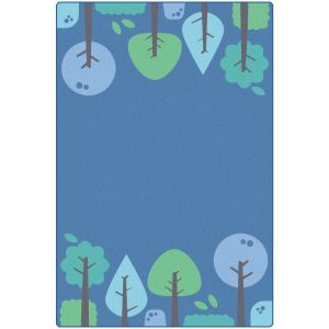Tranquil Trees Blue 4' x 6' Rectangle KIDSoft Premium Carpet