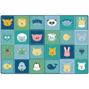 Baby Animals Patchwork 4' x 6' Rectangle KIDSoft Premium Carpet