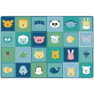 Baby Animals Patchwork 8' x 12' Rectangle KIDSoft Premium Carpet
