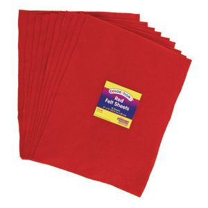 Red Colorations® Single Color Felt Sheets 10 Pieces