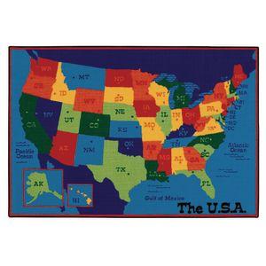USA Map 4' x 6' Rectangle Kids Value Carpet