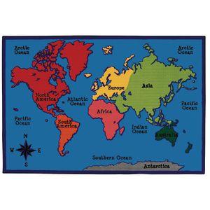 World Map 8' x 12' Rectangle Kids Value PLUS Carpet