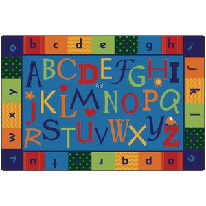 Alphabet Around Literacy 4' x 6' Rectangle KIDSoft Premium Carpet
