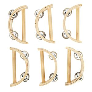 Excellerations® Toddler Easy-Hold Wooden Tambourine Set of 6