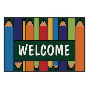 """Colorful Pencils Welcome 3' x 4'6"""" Rectangle Kids Value Carpet"""